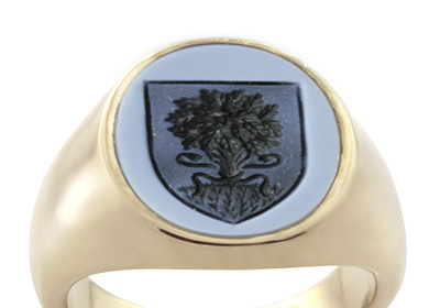 Blue Gemstone Signet Ring Seal Engraved with School Shield