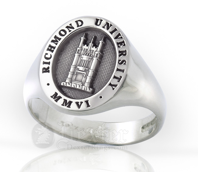 Signet ring engraved with the school crest in an elevated style