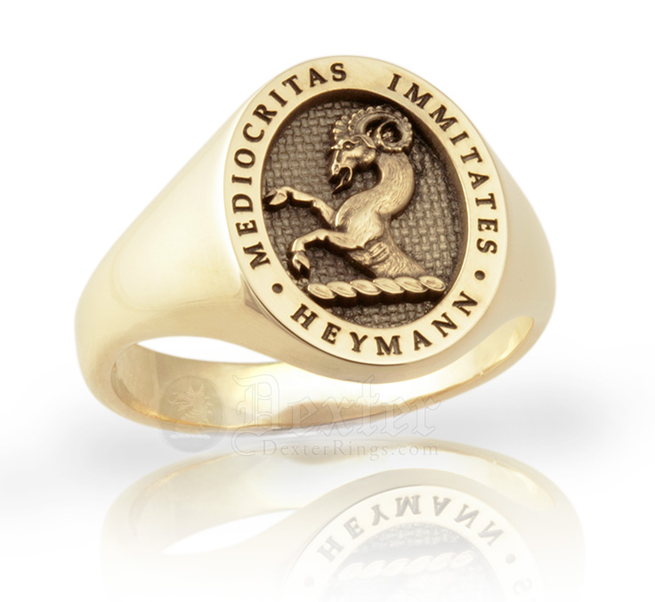 School Crest Ring With Name and Motto