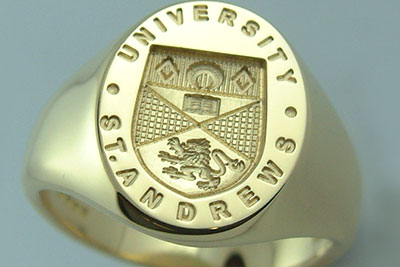 St Andrews University Signet Ring Traditionally Engraved