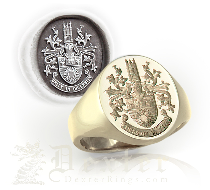 Signet ring seal engraved with a full coat of arms