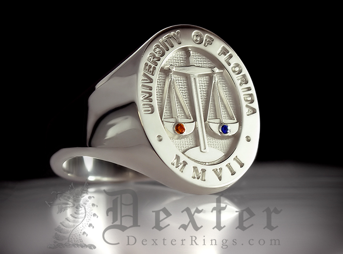 University of Florida Signet Ring Personalised with Ruby & Sapphire