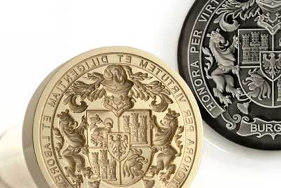 Ornate Custom Bespoke Coat of Arms Engraved on a Desk Seal