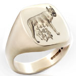 Romulus & Remus Seal Ring Engraved With Design Taken from Ancient Roman Architecture