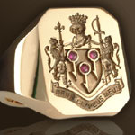 Heraldic Signet Ring Set With a three Rubies