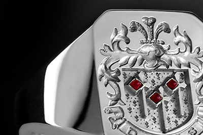 Rubies as Part of the Heraldry Compliment This Dennis Coat of Arms Ring