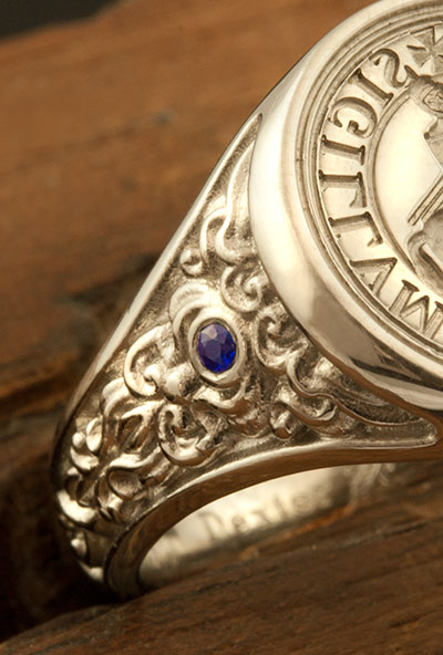 Knights Templar Ancient Seal Ring Set with a Sapphire