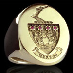 Signet Ring Set With 3 Rubies in Shield