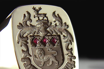 Rubies as Part of the Heraldry Compliment This Goodwin Family Arms Ring