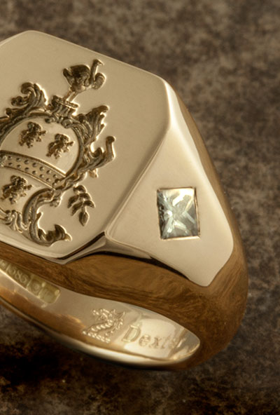 Coat of Arms Ring with Very Special Large Princess Cut Diamonds