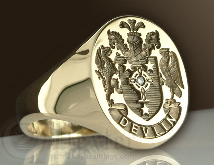 Family Arms Signet Ring Set With a Diamond