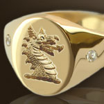 Dragons head couped Crest Ring Set With Diamonds