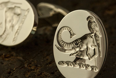 Gifts for Best Man or Father of the Bride Elephant Parrot Crest Cufflinks