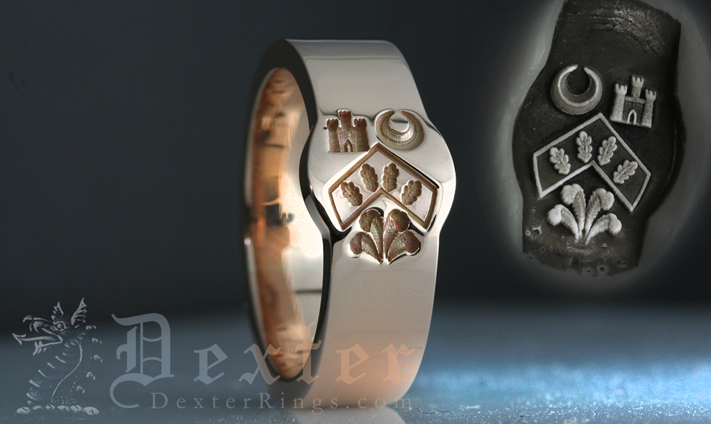 Wedding Band One of our Mini Cigar Bands with Engraving from Heraldic Shield