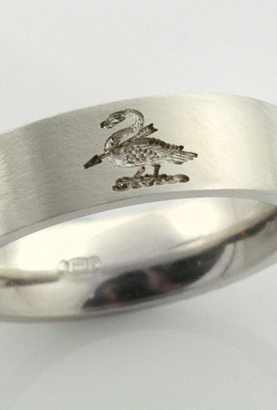 5mm Wedding Band Engraved With Swan Crest