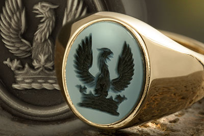 Blue Sardonyx Stone Set Signet Ring Demi Eagle Displayed out of a Ducal Coronet