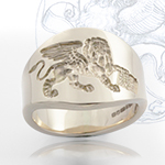Cigar style band with personal design - an exquisite choice for a wedding band