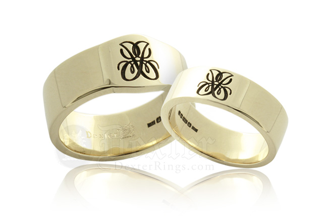 Mini Cigar Band & Plain Wedding Band Engraved with a Cipher of the Couples Initials