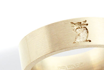 4mm Wedding Band Engraved with Heraldic Crest