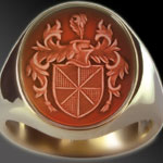 Coat of Arms Seal Engraved on  a Cornelian